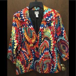 Chico's Multicolor Jacket Blazer Size 1 EUC